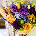 Spring:  purples, blues, light orange, deep green